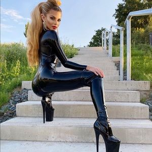 faux leather black catsuit PRICE IS FIRM